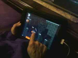 My dad trying out Quietus II on iPad.